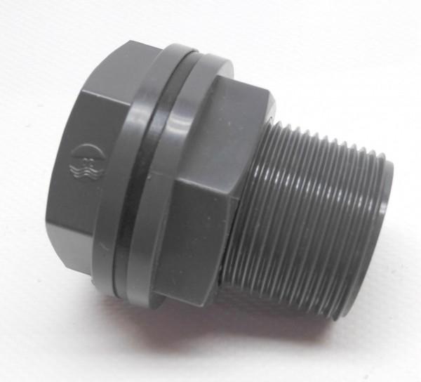 PVC - Tankdurchführung 5/4 Zoll AG, einseitig 1 Zoll IG, andere Seite Klebemuffe 25 mm