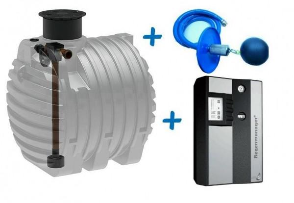 Profi Regenwasseranlage mit 6.500 Liter Kunststofftank, Filter, Regenmanager RM3 Plus und Ansaugleit