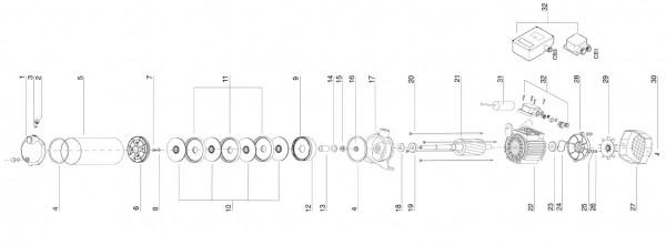 Explosionszeichnung Aspri 20 Espa Hauswasserwerk, Kreiselpumpe