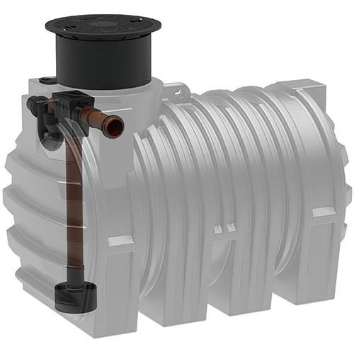 Kunststoff Regenwassertank 3.300 Liter mit Tankeinbaufilter, Zulauf, Überlauf und Schiebedom