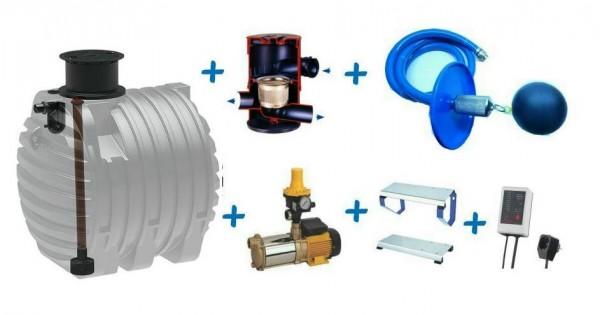Regenspeicher für Regenwasseranlage mit 6.500 Liter Kunststofftank, Filter, Aspri Pumpe, Nachspeisung RW