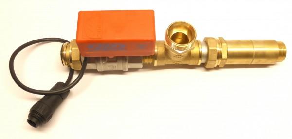 Vorgefertigter Motorkugelhahn für RMA-4 und RMO-4 mit Messingverschraubungen komplett mit Stellmotor und Zwei-Wegeventil passend bei Regenmanager RMA-4 und RMO-4 mit Kreiselpumpe ASPRI 10-4. Lieferung mit Anschlußstecker.