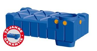 Kunststoff Regenwassertank 3.000 Liter-Flache Ausführung mit Dom