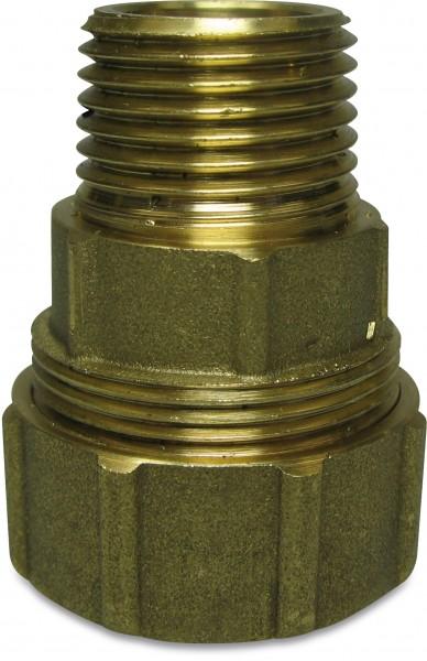 """Messing-Klemmverschraubung Gerade Ø32 - 1""""AG (stützröhrchenlos) für PE-Rohre, Ausführung Ø32 - 1""""AG für PE-Rohr mit Ø32mm Aussendurchmesser, Anschlußgewinde 1"""" AG, Arbeitsdruck: 16 bar, mit DVGW Zulassung."""