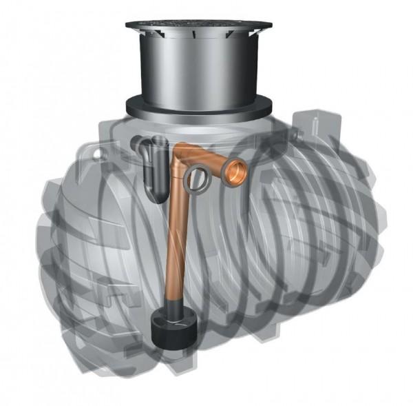 Kunststoff Regenwassertank 2.200 Liter mit Zulauf, Überlauf und Schiebedom