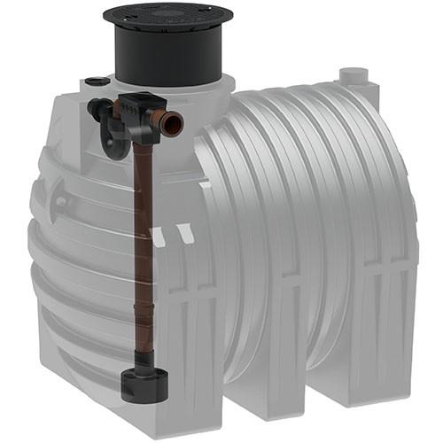 Kunststoff Regenwassertank 4.700 Liter mit Tankeinbaufilter, Zulauf, Überlauf und Schiebedom
