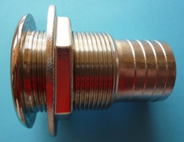 Behälterverschraubung 1 Zoll in Edelstahl mit 26mm Schlauchtülle
