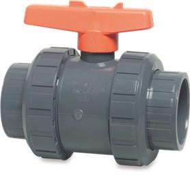 PVC - Kugelhahn 50mm mit gesicherter Kugel für PVC Rohr 50mm