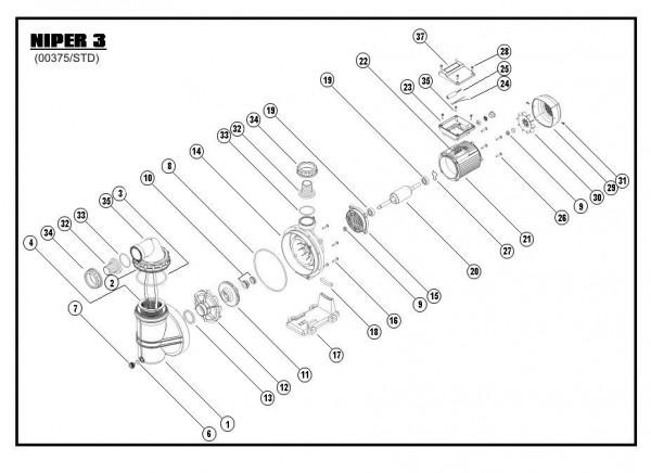 Explosionszeichnung Niper 3-450, Niper 3-650, Niper 3-850