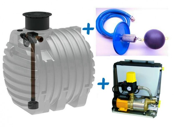 Regenwasseranlage mit 4.700 Liter Kunststofftank, Tridentfilter, Regenwasserzentrale SIGMA und Ansaugleitung