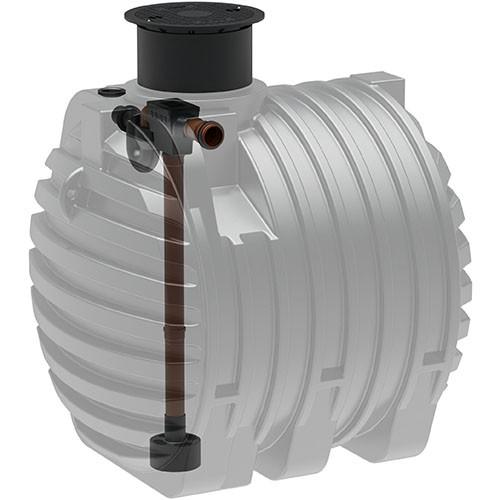 Kunststoff Regenwassertank 6.500 Liter mit Tankeinbaufilter, Zulauf, Überlauf und Schiebedom