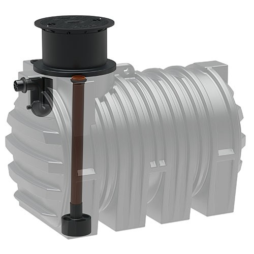 Kunststoff Regenwassertank 3.300 Liter mit Zulauf, Überlauf und Schiebedom