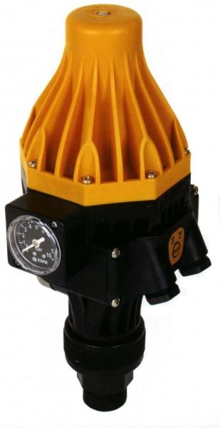 Druckregelautomat Espa KIT Pressdive zum automatischen Ein- und Ausschalten von Pumpen, mit Manometer, Rückschlagventil, Trockenlaufschutz, Anschlussverschraubung, verstellbarem Einschaltdruck und Status LED, komplett verkabelt mit Steckerleitung und Kupp