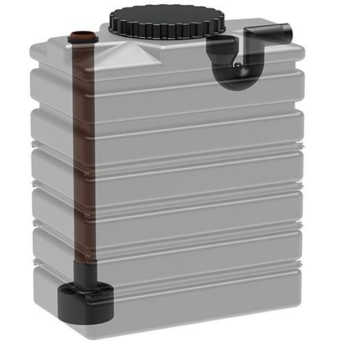Innenansicht Kunststoff Regenspeicher Basistank 1.000 Liter mit Zulauf und Überlauf