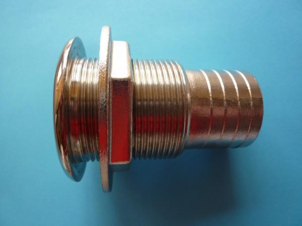 Behälterverschraubung 3/4 Zoll in Edelstahl mit 19 mm Schlauchtülle