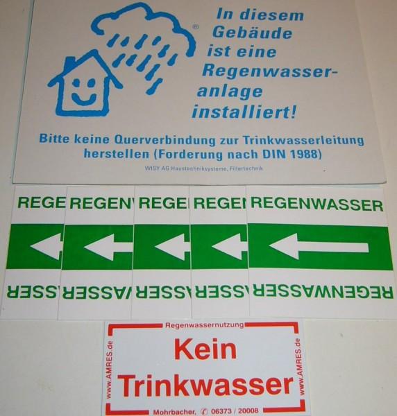 Kennzeichnungsset, 11-teilig für Regenwasser Anlagen DIN 1989 DIN 1988