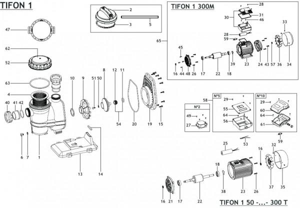 Explosionszeichnung ESPA Filterpumpe und Schwimmbadpumpe Tifon