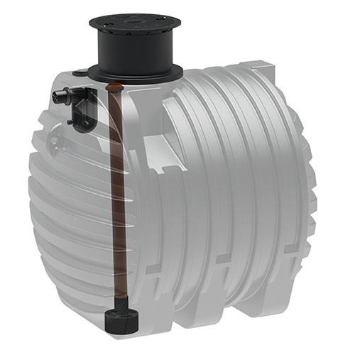 Kunststoff Regenwassertank 6.500 Liter mit Zulauf, Überlauf und Schiebedom