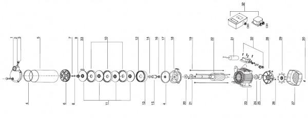 Explosionszeichnung Espa Kreiselpumpe Aspri 10