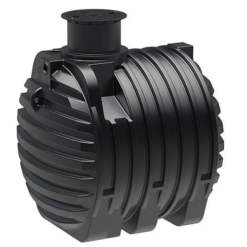 Kunststoff Regenwassertank 6.500 Liter mit drei Anschlüssen und Schiebedom