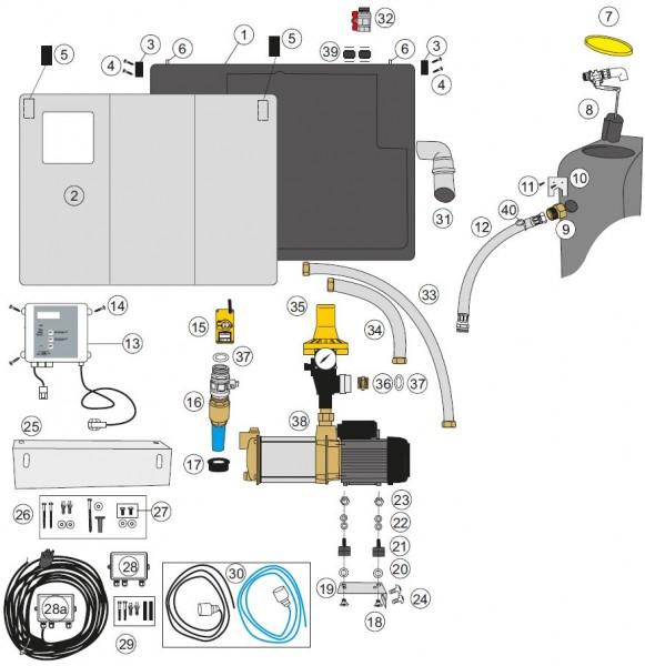 Explosionszeichnung Raincenter Basic, Comfort, Tacomat C mit Aspri 15 und KIT 02