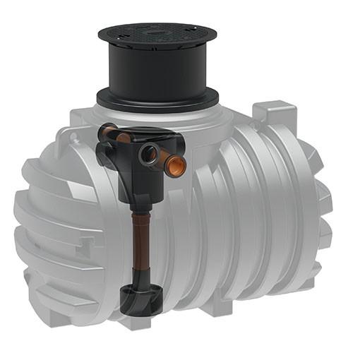 Kunststoff Regenwassertank 2.200 Liter mit Einbaufilter, Zulauf, Überlauf und Schiebedom