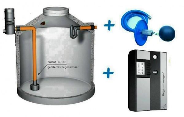 Profi Regenwasseranlage mit 6.100 Liter Beton-Erdtank, Wirbel-Fein-Filter (extern), Regenmanager RM3 Plus und 10 Meter Ansaugleitung.