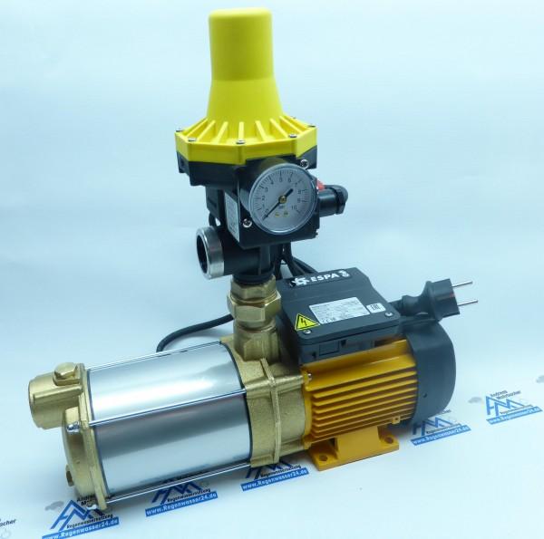 Hauswasserwerk ASPRI 15-3, sehr leise dreistufige Kreiselpumpe aus Messing (MB), stromsparend mit Druckregler KIT 02-3 für ein Einfamilienhaus.
