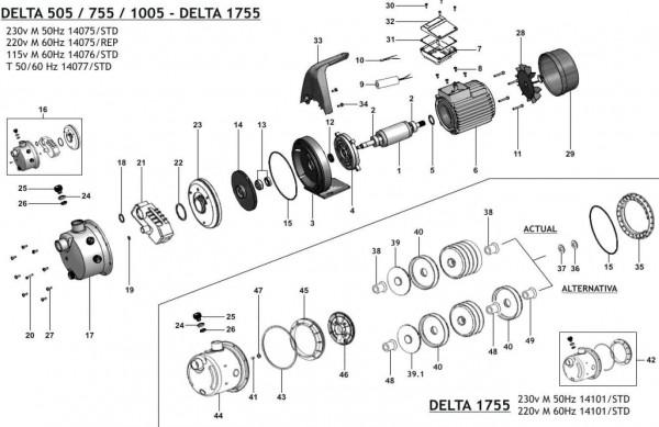 Ersatzteilliste für Delta 505, Delta 755, Delta 1005, Delta 1755 als PDF zum download