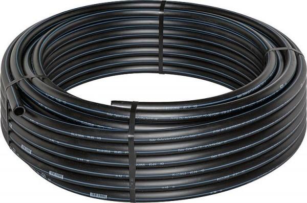 PE Druckwasserrohr Ø 32mm x 3mm, Rolle a' 25m, Farbe schwarz mit blauen Streifen,