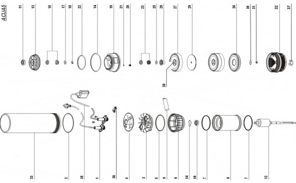 Explosionszeichnung, Ersatzteilliste, Unterwasserpumpe Acua5, Espa Acua 5