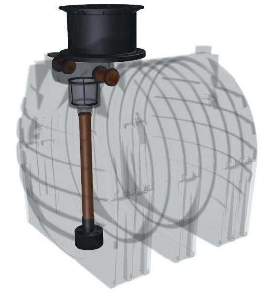 Kunststoff Regenwassertank 4.700 Liter mit Einbaufilter, Zulauf, Überlauf und Schiebedom
