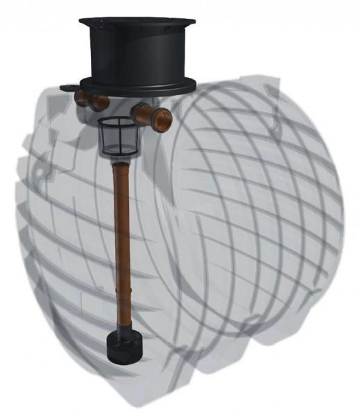 Kunststoff Regenwassertank 6.500 Liter mit Einbaufilter, Zulauf, Überlauf und Schiebedom