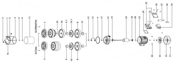 Explosionszeichnung Aspri 25 Espa Hauswasserwerk, Kreiselpumpe, Druckerhöhung